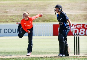 Danielle Wyatt bowling against New Zealand