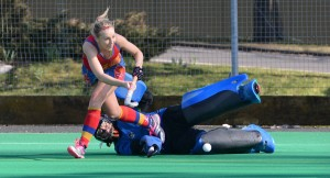 March 7 Investec Women's Premier Division Natalie Hunter gives away a penalty as she tackles Hannah Martin in the Univ of Birmingham v Beeston match Credit Andy Smith.