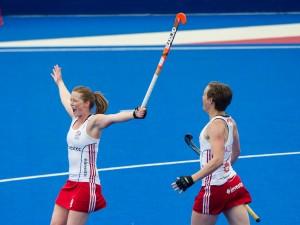 Great Britain's Helen Richardson-Walsh celebrates. Great Britain v Japan - Schools Event, Lee Valley Hockey & Tennis Centre, London, UK on 27 April 2015. Photo: Simon Parker