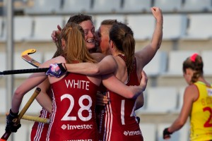 team GB celebrates the second goal