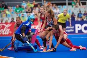 Hannah Macleod scores the first goal for GB