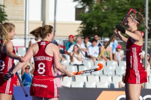 RIO 2016 Olympic qualification, Hockey, Women, semi-final, Great Britain vs Germany : Lily Owsley Celebrates the only goal of the match