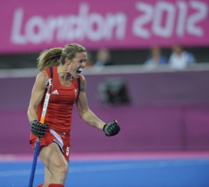 Great Britain's Crista Cullen celebrates scoring the 3rd goal against Belgium during the London 2012 Olympic hockey tournament, at the Riverbank Arena, Olympic Park, Stratford, East London, 2nd August 2012.