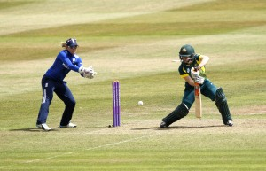 TAUNTON, ENGLAND - JULY 21: Sarah Taylor of England looks on as Alex Blackwell of Australia scores runs during the 1st Royal London ODI of the Women's Ashes Series between England Women v Australia Women at The County Ground on July 21, 2015 in Taunton, England.  (Photo by Julian Herbert/Getty Images)