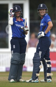 TAUNTON, ENGLAND - JULY 21:  Lydia Greenway (L) and Natalie Sciver of England chat between overs during the 1st Royal London ODI of the Women's Ashes Series between England Women v Australia Women at The County Ground on July 21, 2015 in Taunton, England.  (Photo by Julian Herbert/Getty Images)