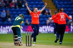 CARDIFF, WALES - AUGUST 31: Anya Shrubsole of England celebrates bowling out Meg Lanning of Australia during the 3rd NatWest T20 of the Women's Ashes Series between England and Australia Women at SWALEC Stadium on August 31, 2015 in Cardiff, United Kingdom. (Photo by Julian Finney/Getty Images)