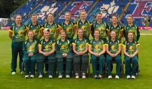 CARDIFF, WALES - AUGUST 31: The Australia squad pictured before the 3rd NatWest T20 of the Women's Ashes Series between England and Australia Women at SWALEC Stadium on August 31, 2015 in Cardiff, United Kingdom.