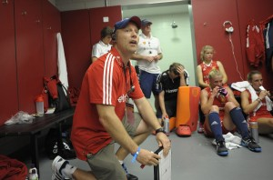 England' Womenm's team interim head coach Danny Kerry takles the half time team talk during their Investec London Cup game at the Lee Valley Hockey and Tennis Centre, Queen Elizabeth Park, Stratford, east London, 12th July 2014.
