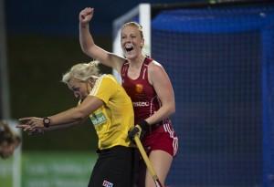 Nicola White celebrates the second goal v Italy Credit Chris Lee