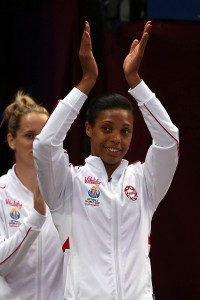 England's Stacey Francis applauds the crowd