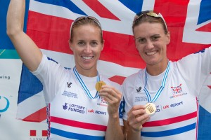 Aiguebelette, FRANCE, Left Helen Glover and Heather Stanning Gold Medalist Women's pair at the 2015 FISA World Rowing Championships, Venue, Lake Aiguebelette - Savoie. Saturday 05/09/2015 [Mandatory Credit. Peter SPURRIER/Intersport Images].