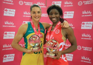 England's Ama Agbeze (right) and Australia's Sharni Layton (left), with their player of the series trophies during the second international series match at The Copper Box, London. PRESS ASSOCIATION Photo. Picture date: Sunday January 24, 2016. See PA story NETBALL England. Photo credit should read: Nigel French/PA Wire. EDITORIAL USE ONLY, NO COMMERCIAL USE WITHOUT PRIOR PERMISSION, PLEASE CONTACT PA IMAGES FOR FURTHER INFO: Tel: +44 (0) 115 8447447.