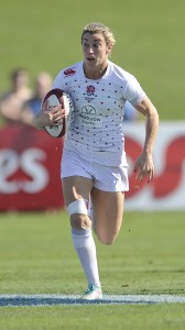 Dubai. United Arab Emirates. Natasha Hunt of England Women's Sevens in action during England Women 7s and France Women 7s at the IRB Women's Sevens World Series at 7he Sevens Stadium Dubai, UAE on day 2 . Dubai Emirates Airline 7s on December 5, 2014.