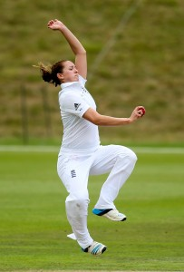 HIGH WYCOMBE, ENGLAND - AUGUST 15: Kate Cross of England in action during day three of Women's test match between England and India at Wormsley Cricket Ground on August 15, 2014 in High Wycombe, England. (Photo by Ben Hoskins/Getty Images)