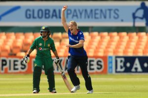 LEICESTER, ENGLAND - JUNE 21: Katherine Brunt of England celebrates the first wicket during the 1st Royal London ODI match between England Women and Pakistan Women at Grace Road Cricket Ground on June 21, 2016 in Leicester, England. (Photo by Stephen Pond/Getty Images) *** Local Caption *** Katherine Brunt