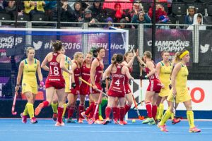 Great Britain celebrate scoring. Great Britain v Australia - Hockey Champions Trophy, Lee Valley Hockey and Tennis Centre, London, UK on 25 June 2016. Photo: Simon Parker