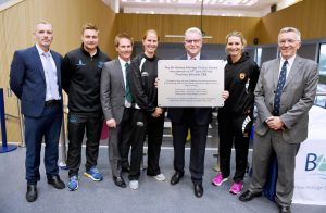 The opening of the Sir Rodney Aldridge Cricket Centre by Charlotte Edwards in Brighton Photo shows from left Dylan Davies (BACA head teacher) Luke Wright , Simon Funnell , Alexia Walker, Sir Rod Aldridge , Charlotte Edwards and Jim May Please Credit - Simon Dack / Vervate
