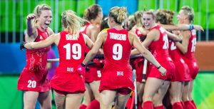 RIO DE JANEIRO - GB celebrate win after the semifinal hockey women New Zealand-Great Britain (0-3). COPYRIGHT KOEN SUYK